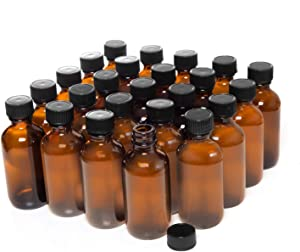Rocinha 2OZ Glass Bottles Boston Round Glass Bottle 24pcs Amber Glass Bottles with Cap for Homemade Vanilla Extract, Essential Oils, Herbal