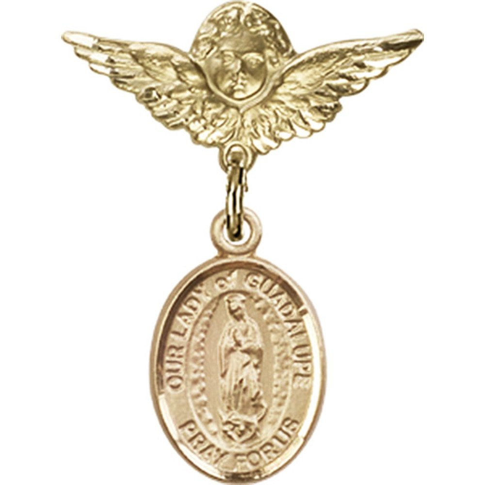 14kt Yellow Gold Baby Badge with Our Lady of Guadalupe Charm and Angel w/Wings Badge Pin 1 X 3/4 inches by Bonyak Jewelry Saint Medal Collection
