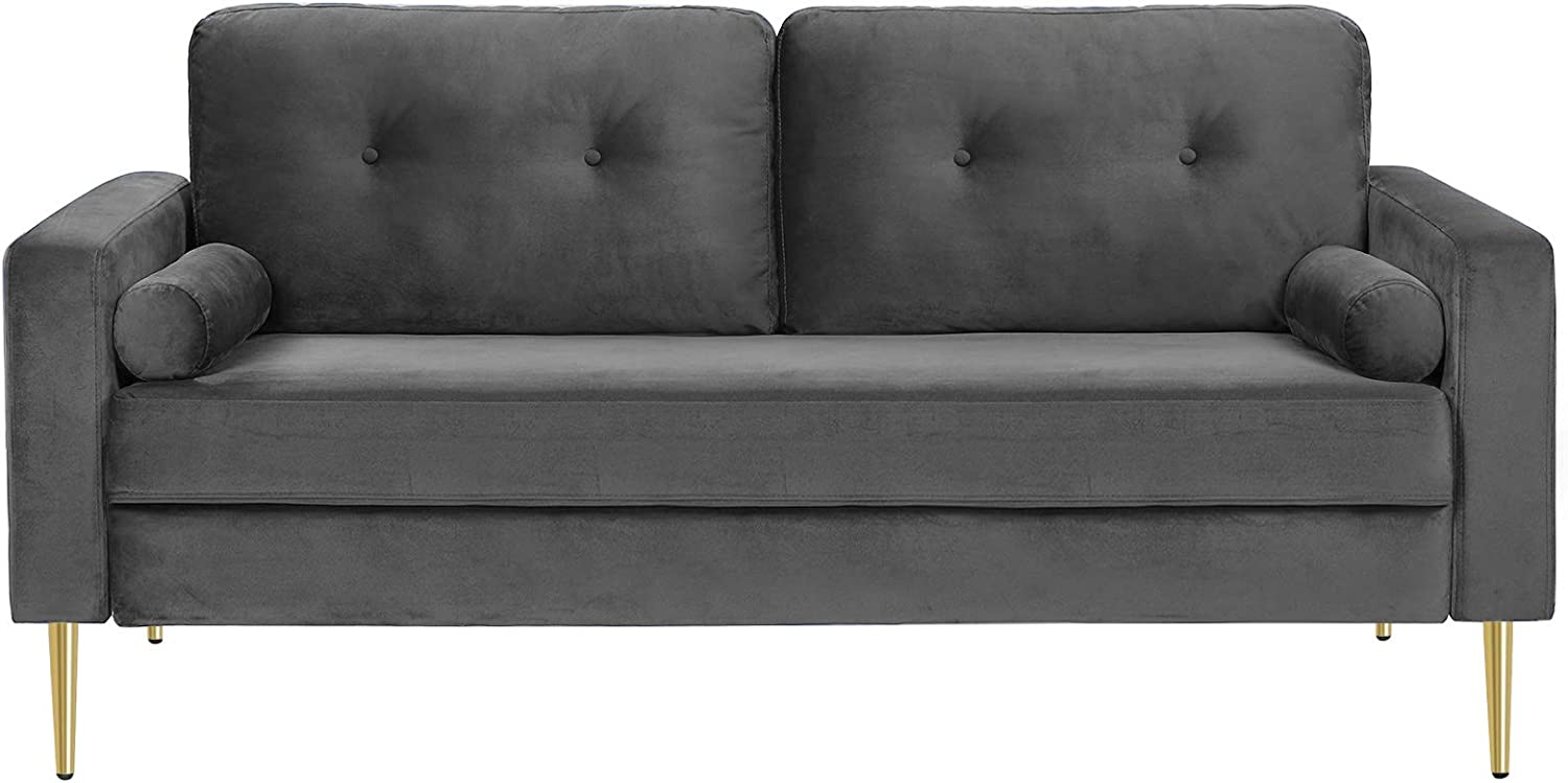VASAGLE Sofa, Couch for Living Room, Velvet Surface, for Apartment, Small Space, Solid Wood Frame, Metal Legs, Easy Assembly, Mid-Century Modern Design, 71.3 x 32.3 x 33.9 Inches, Gray ULCS002G01