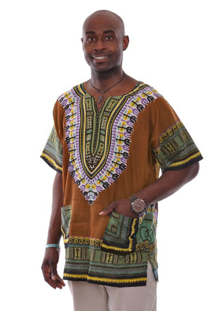 Dupsie's Bronze Traditional African Print Dashiki Shirt L to 6XL (5XL)