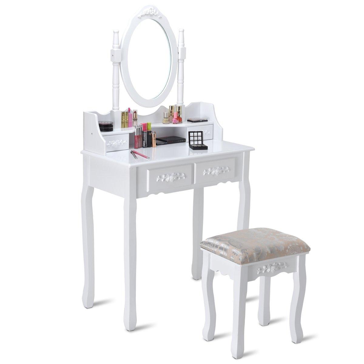 Giantex White Bathroom Vanity Jewelry Makeup Dressing Table Set W/Stool Mirror Wood Desk (4 Drawers)