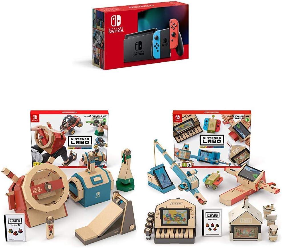 Nintendo Switch - Consola color Azul Neón/Rojo Neón (Modelo 2019) + Labo: Toy-Con Kit de vehículos + Labo: Toy-Con Kit variado: Amazon.es: Videojuegos