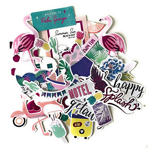 Beautiful Palm Springs Tropical Beach Stickers for Your Laptop, Scrapbooking and Travel Diary (40 Pieces) by Noteworthie Gifts