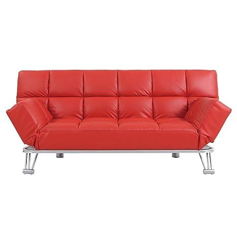 Miliboo - Sofá cama de piel 3 plazas color rojo MANHATTAN ...