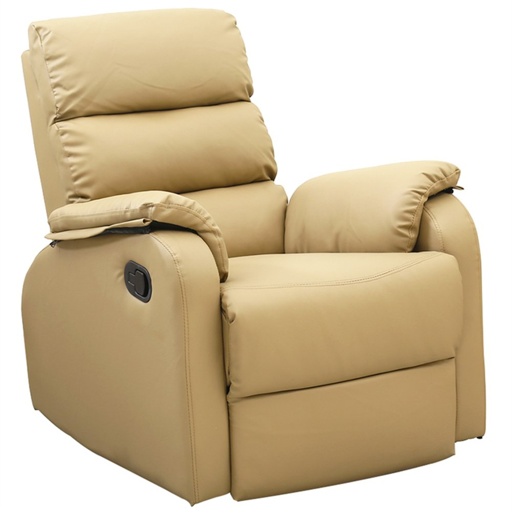 Dland Home Theater Seating Recliner Chair Compact Manual Leather Reclining Sofa Living Room Chairs, Light Brown 8032