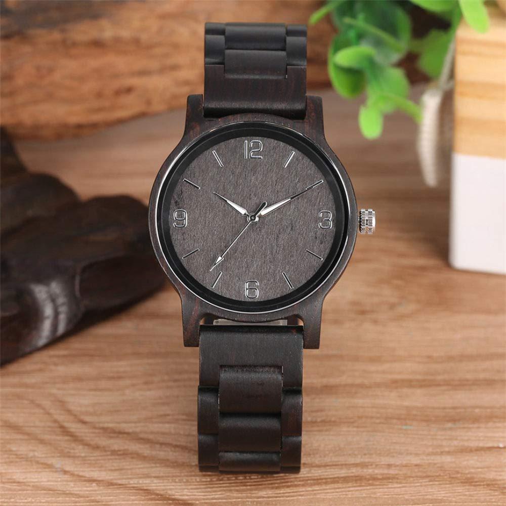 ZJQQS Träklocka unik lysande visare män träklocka kvarts trä armband män armbandsur man klocka tidpunkt 1