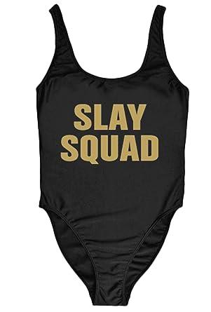 d7c85670c40 Amazon.com: MAXIMGR Woman's Sexy Retro Slay Squad Letters Prints One Piece  Swimsuit Swimwear: Clothing