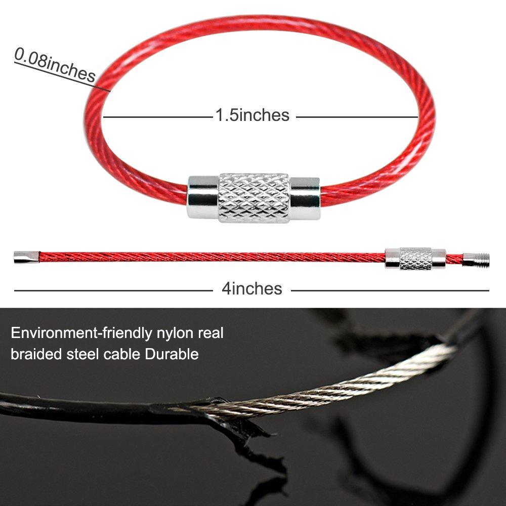 Senhai Portachiavi filo 20pcs, chiave anello 2mm Loops cavo in acciaio inossidabile ingranaggi per l'attaccatura Targhetta per i bagagli, Portachiavi e Custodi ID tag FBA_SH-Wire Keychain