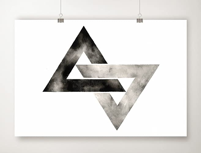 Geometric Triangle Art Print Minimalist Scandinavian Artwork Black White Prints