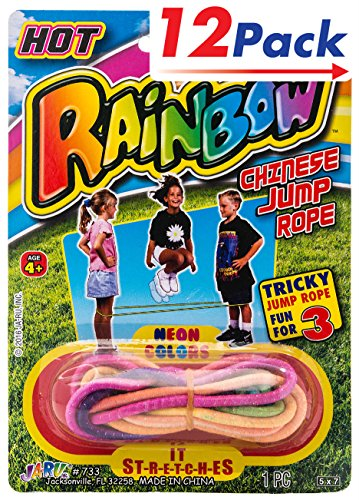 Chinese Jump Rope by 2GoodShop | Colorful Stretch Rope Your child will exercise while playing with friends Pack of 12 | Item #733 (Rope Playing)