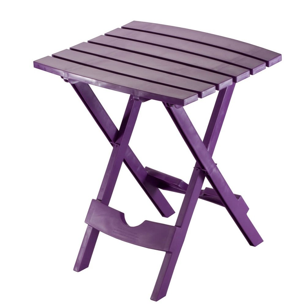 Quick Fold and Storage Indoor Outdoor Plastic Side Table - Compact, Weather-Resistant - 15'' L x 17'' W x 20'' H (Purple)