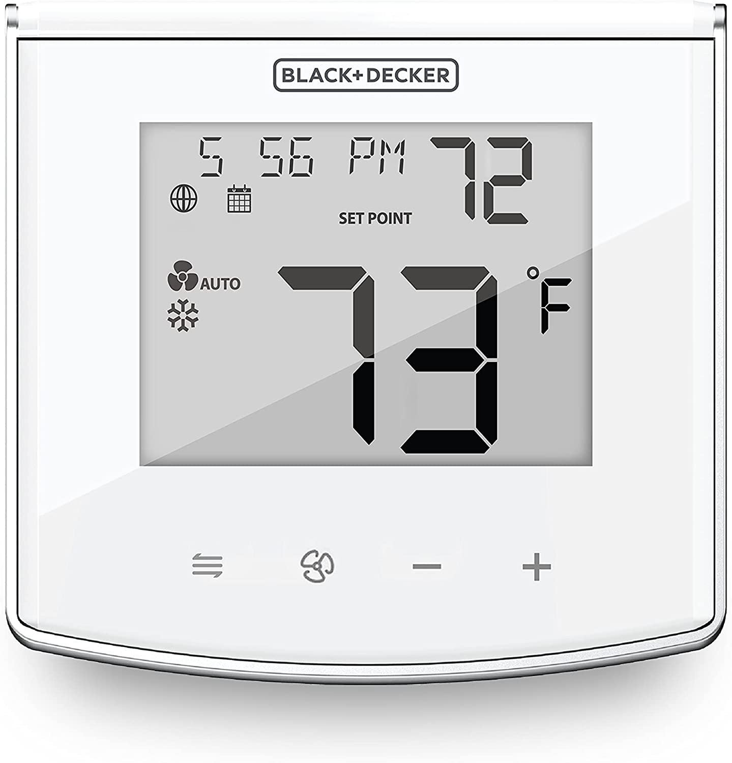 BLACK+DECKER Touch Key Wi-Fi Thermostat for Smart Home with Intelligent Programming, Convenient Mobile App, Four-Button Interface & Compatible with Alexa & Google Assistant, White (BDXTTSM1)