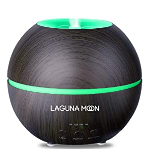 Essential Oil Diffuser, Lagunamoon 300ml Aroma Diffuser, Aromatherapy Diffusers with Auto Shut-off Function - Adjustable Mist Mode and 7 Colors Changing Lights for Home Office Yoga Room (Dark Brown)