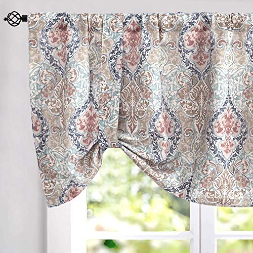 Damask Printed Tie-up Valances for Windows Multicolor Linen Textured Adjustable Tie Up Shade Window Curtain Rod Pocket Medallion Tie-up Valance Curtains 18 Inches Long 1 Panel, Green (Valance Multicolor)