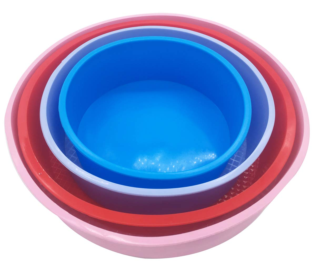 Round Cake Pan 4Pcs/Set, Different Size Baking Silicone 6 8 9 10 Baking Mold, BPA Free, Non-Stick European-Grade Silicone, 2.36-Inches Deep Kootips-1-4463