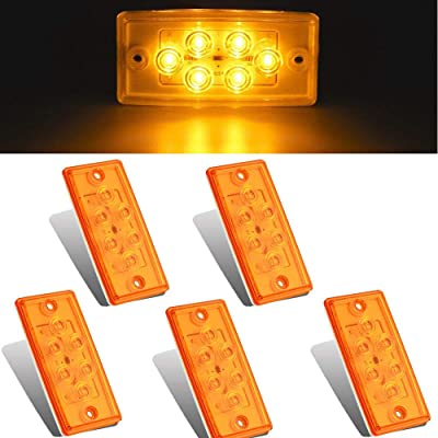 NPAUTO 5pcs Freightliner Cab Lights 6 LED Amber Roof Clearance Marker Light Rectangle Top Running Light for Freightliner Century Columbia Volvo Truck Trailer Camper [Waterproof, Flush Mount]: Automotive