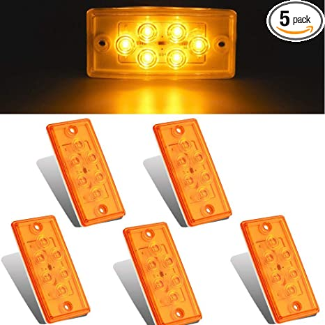 NPAUTO 5pcs Freightliner Cab Lights 6 LED Amber Roof Clearance Marker Light  Rectangle Top Running Light for Freightliner Century Columbia Volvo Truck