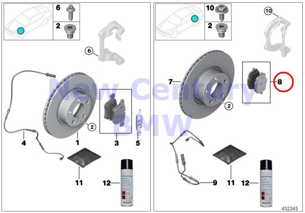 BMW Genuine Rear Brake Pads Asbestos-Free Repair Kit 528i 528iX 535i 535iX Hybrid 5 528i 528iX 535d 535dX 535i 535iX Hybrid 5 X3 28dX X3 28i X3 28iX X3 35iX X4 28iX X4 35iX