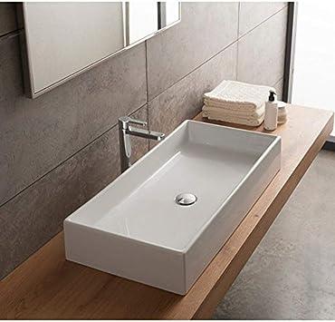 Scarabeo 8031 80 No Hole Teorema Rectangular Ceramic Vessel Sink White Amazon Com
