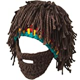 Creative Original Barbarian Knit Beard Hat Wig Beanie Hat Funny Knit Hat Beard Facemask