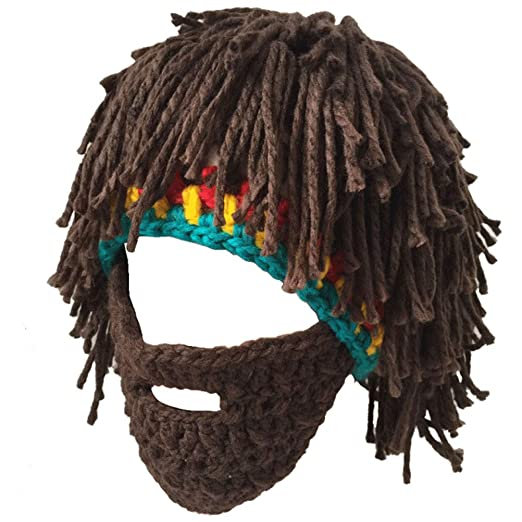 78529b0e7 Creative Original Barbarian Knit Beard Hat Wig Beanie Hat Funny Knit Hat  Beard Facemask