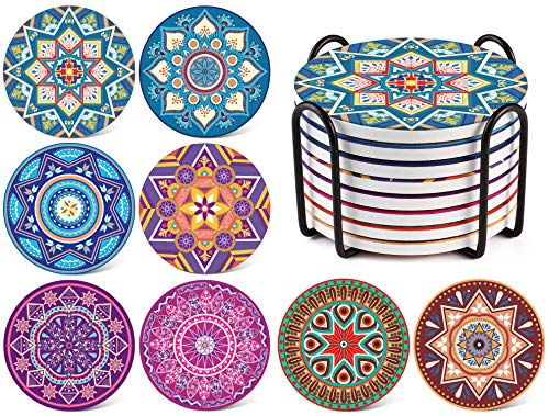 LIFVER Coasters for Drinks Absorbent with Holder, Set of 8 Mandala Style Ceramic Coasters with Cork Base, 4 inch Tabletop Protection Stone Coasters for Home Decor, Housewarming Gift Idea