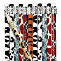 Pack of 12 - Animal Print Wooden Pencils with Erasers - Party Loot Bag Fillersの商品画像