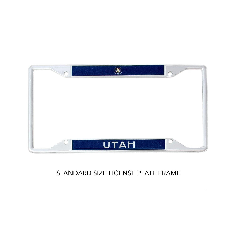 Desert Cactus State of Utah Flag License Plate Frame for Front Back of Car Vehicle Truck