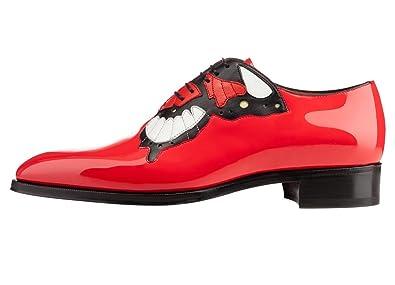 22fe9801472 FootGift chaussure homme Rouge en cuir décorée avec un motif papillon avec  un bout pointu EU50