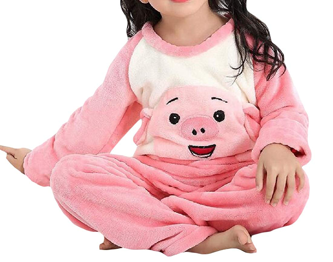 Cromoncent Girl Cartoon Soft Flannel 2 Pieces Lounge Cute Pajama Sets
