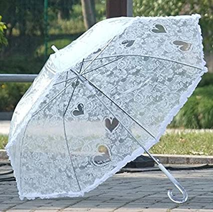 Imitación de encaje damas paraguas largo paraguas transparente paraguas transparente rosa paraguas (Color : Blanco