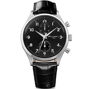 8d3d21c89 Image Unavailable. Image not available for. Color: William L. 1985 Men's  Analogue Quartz Chronograph Watch with Black Croco Leather Strap Vintage  Style