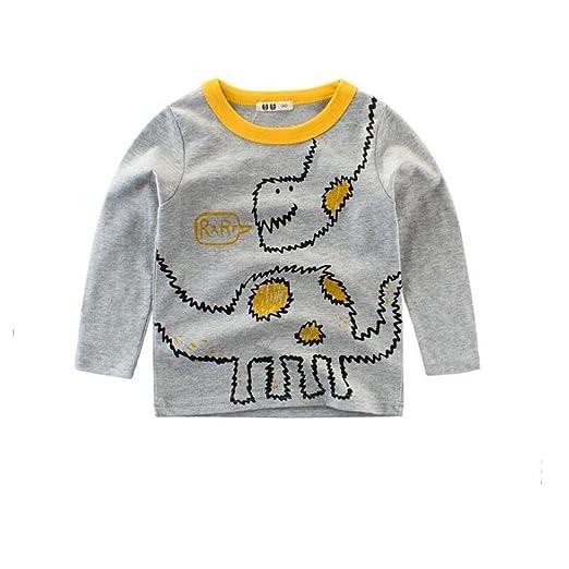 ae571980c CuteOn Kids Cotton Long Sleeve T-Shirts Cute Cartoon Tops For Boys Girls  Gray 90cm