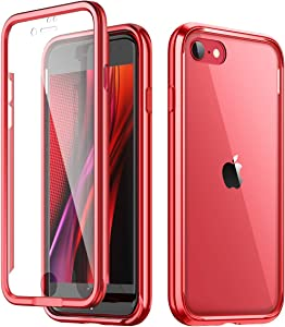 "SURITCH Clear Case for iPhone SE 2020/iphone 8/7,[Built in Screen Protector][9H Tempered Glass Back][Metallic Electroplated Edge] Shockproof Full Body Protective Cover for iPhone SE 2020/8/7 4.7"" Red"