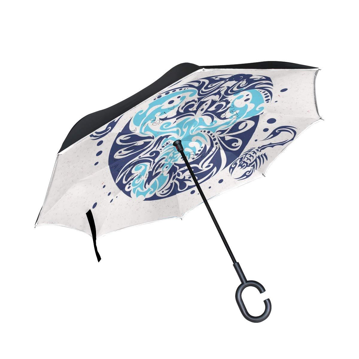 TIKISMILE Paraguas invertido con diseño de Tatuaje escorpión ...