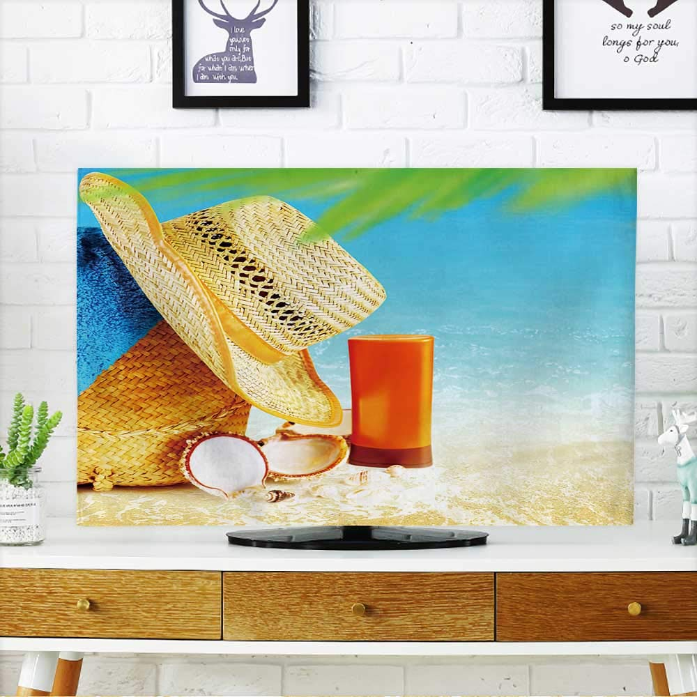PRUNUS Protect Your TV Summertime Holidays Background,Concept Image of Vacation and Travel,Beach Items Protect Your TV W19 x H30 INCH/TV 32''