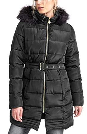 186ff03bf886 Gracious Girl Women Satin Longline Padded Belted Fur Hooded Puffer Parka  Jacket Coat: Amazon.co.uk: Clothing