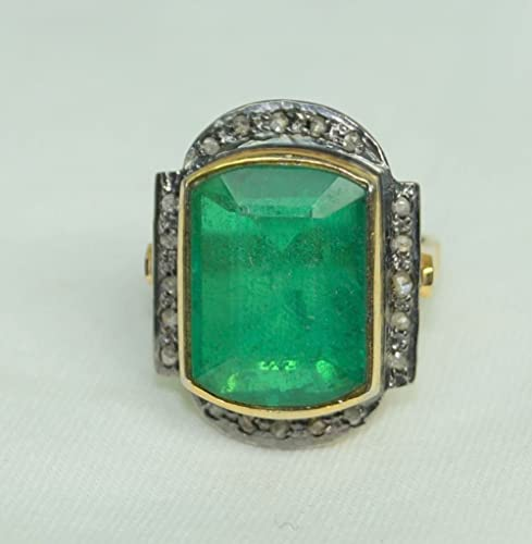 Fine Rings Rose Cut Victorian Style Diamond Natural Tourmaline 925 Sterling Silver Ring