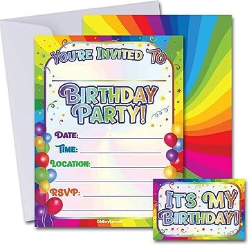 Amazon.com: Invitaciones de fiesta de cumpleaños con sobres ...
