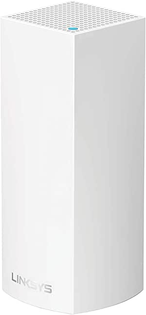 Linksys WHW0301 Velop Tri-Band Whole Home Mesh WiFi System (AC2200 WiFi Router/Extender for Seamless Coverage of up to 2,000 sq ft / 175 sqm, Parental Controls, Compatible with Alexa, 1-Pack, White)