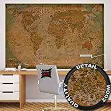 World map Atlas Globus – historic world map photo wallpaper – vintage retro motif – XXL world map mural – wall decoration – old age world map 82.7 Inch x 55 Inch