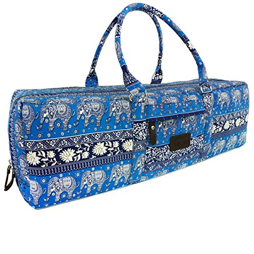 MiChef Yoga Mat Bag - Patterned Canvas Duffle Bag with Zipper and Pocket (Ethnic Elephant- Cobalt Blue)