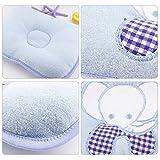 Cotton Baby Newborn Infant Toddler Sleeping Support Soft Pillow Prevent Flat Head Flathead (Blue)