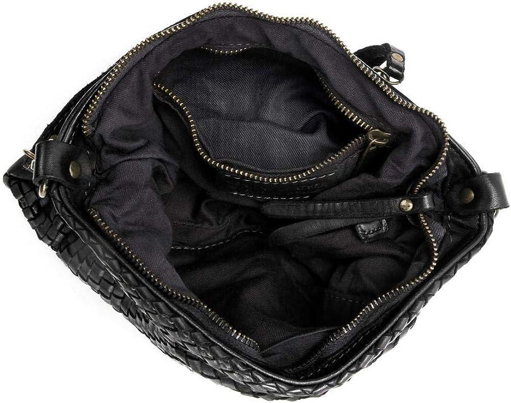 OH MY BAG Sac porté épaule Cuir porté épaule bandoulière et de travers Femmes en véritable cuir de vachette haut de gamme fabriqué en Italie - modèle MISS JOE - SOLDES Noir