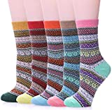 Womens 5 Pairs Soft Comfort Thick Casual Cotton Warm Wool Crew Winter Socks (5 Pack-Style 1)