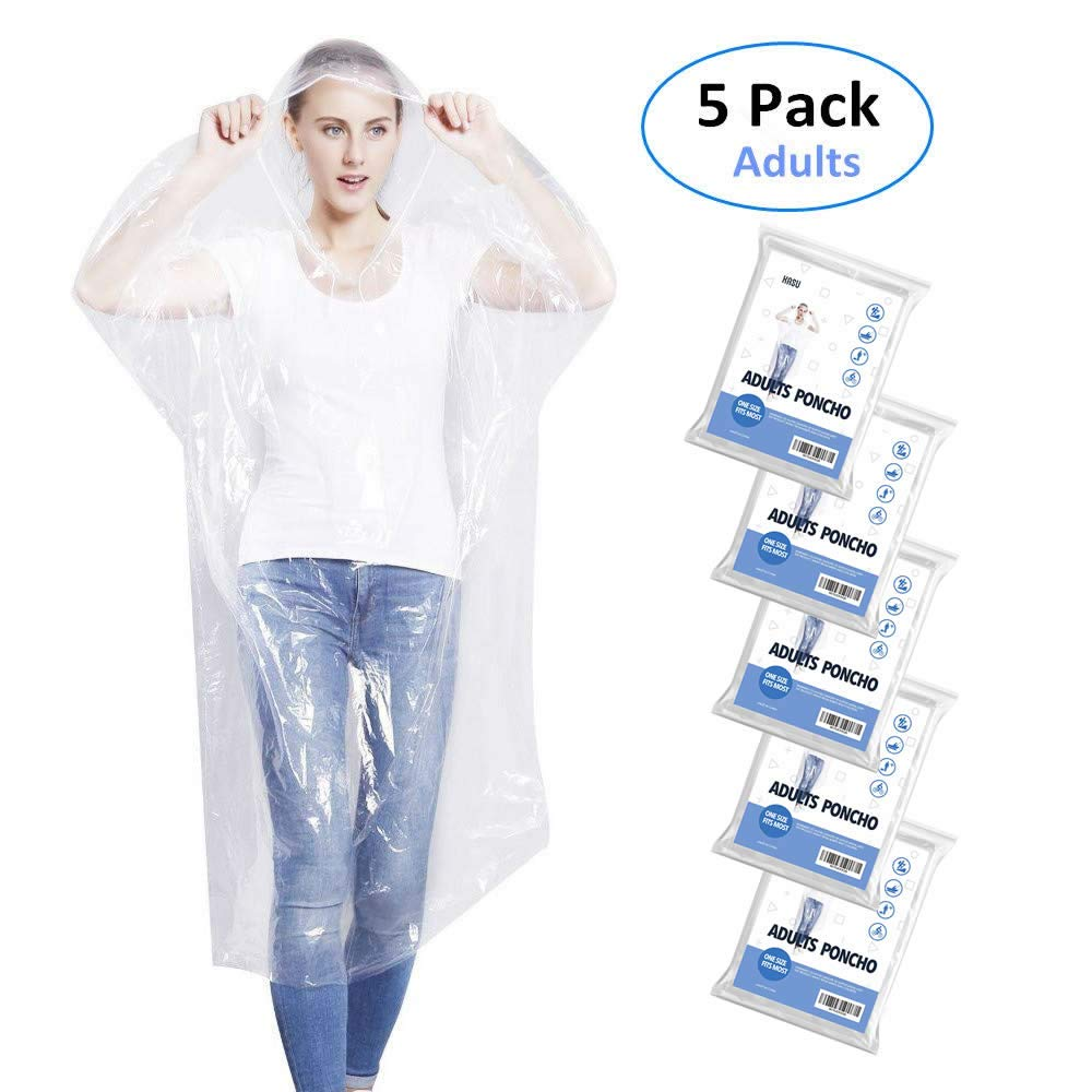 Emergency Rain Ponchos for Adults, Disposable Drawstring Hood Poncho for Outdoors, Theme Parks, Hiking, Camping, School Sporting