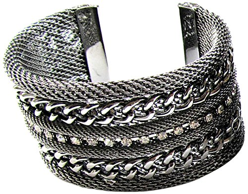 Linpeng Mesh Cable Chains and Rhinestones Gun Metal Cuff Bangle -