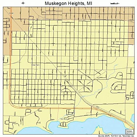 Amazon Com Large Street Road Map Of Muskegon Heights Michigan Mi