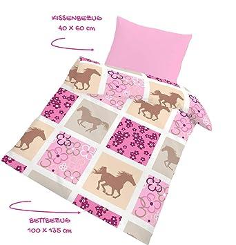Pferde Fein Biber Babybettwäsche Kinderbettwäsche Mädchen Pferd