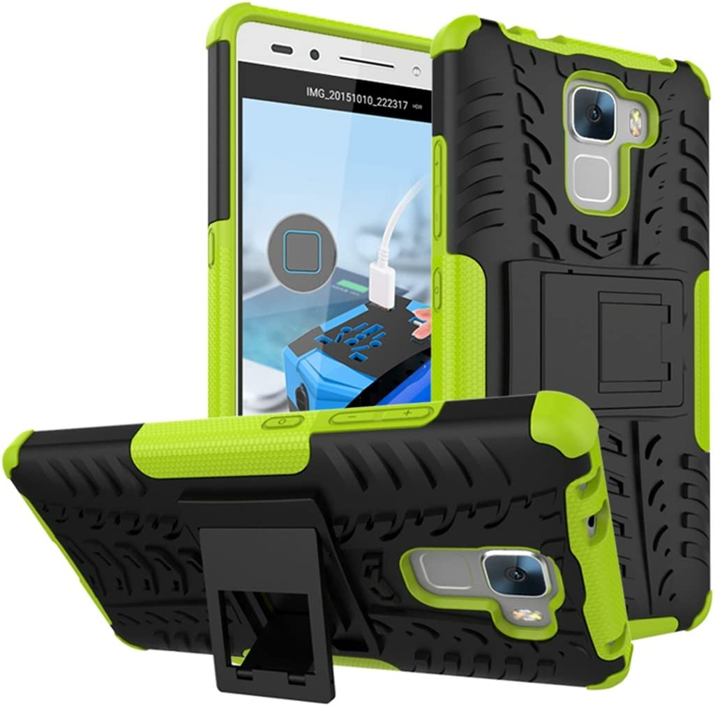 FoneExpert/® Huawei Honor 7 Etui Housse Coque Shockproof Robuste Impact Armure Hybride B/équille Cover pour Huawei Honor 7 Bleu